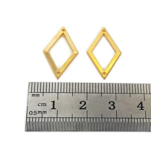 Gold Plated Stainless Steel Diamond Shape Connectors (4 Pkg)