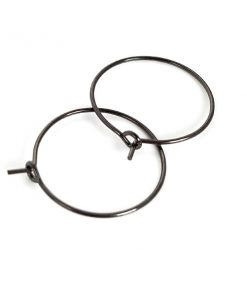 Gunmetal Plated Brass - 2cm Hoop Ear Wires 50 Pkg