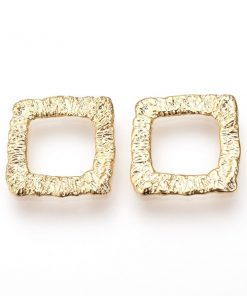 Real Gold Plate Over Brass, Square Shapes (4 pkg)