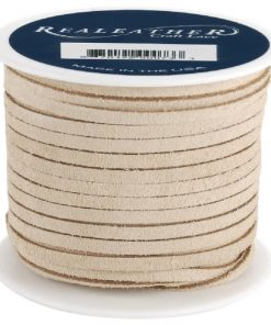 3mm Real Leather Suede Lace - Beige (per metre)