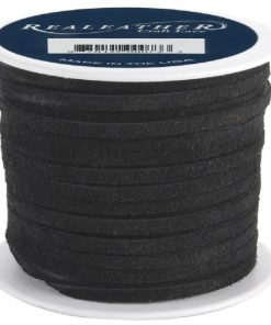 3mm Real Leather Suede Lace - Black (per roll)