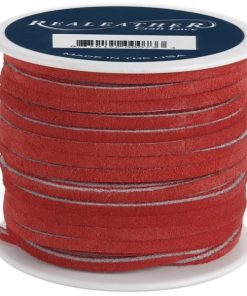 3mm Real Leather Suede Lace - Red (per roll)
