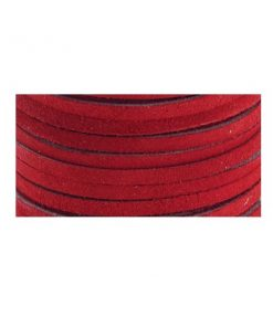 3mm Real Leather Suede Lace - Red (per roll).1