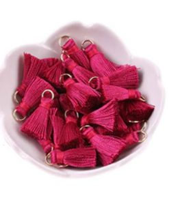 Pair of 20mm Silk Tassels with Jump Rings - Crimson.1