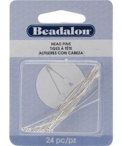 Beadalon Head Pins, Ball, (50 mm), Silver, 24 pc
