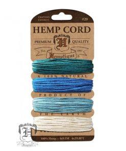 Hemp Cord - Shades of Aquamarine (1mm x 36.4m)